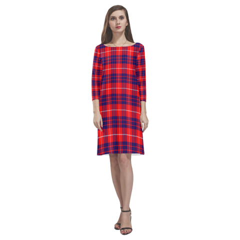 Tartan dresses - Hamilton Modern Tartan Dress - Round Neck Dress NN5