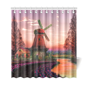 The Netherlands Shower Curtain - Windmill Tulip Field H1