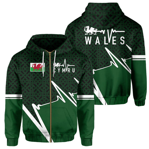 Wales Zip Hoodie - Cymru In My Heartbeat | Clothing | 1sttheworld