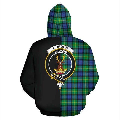 Gordon Old Ancient Tartan Hoodie Half Of Me - Adie TH8