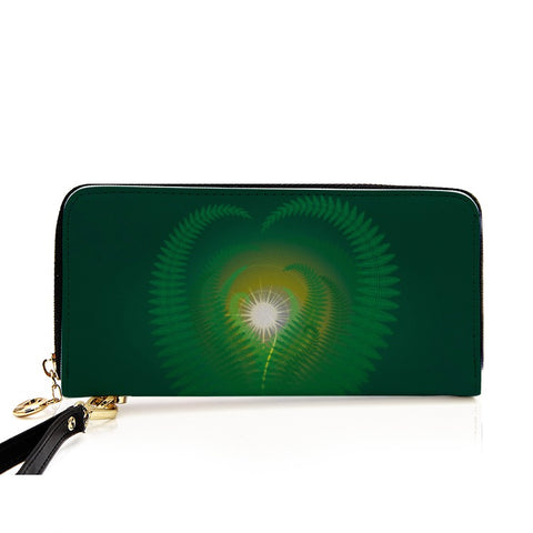 Image of New Zealand Wallet - Silver Fern PU Leather Wallet around Long Clutch Purse K4