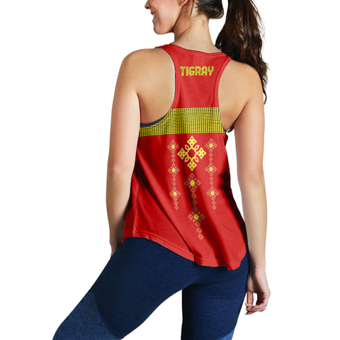 Image of 1stTheWorld Tigray Racerback Women, Tigray Round Pattern Flag A10