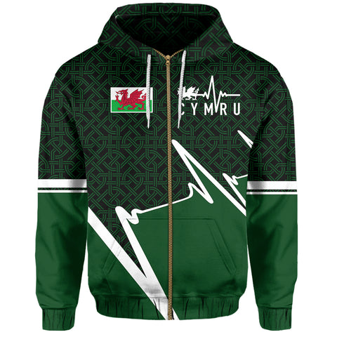 Wales Zip Hoodie - Cymru In My Heartbeat | Clothing