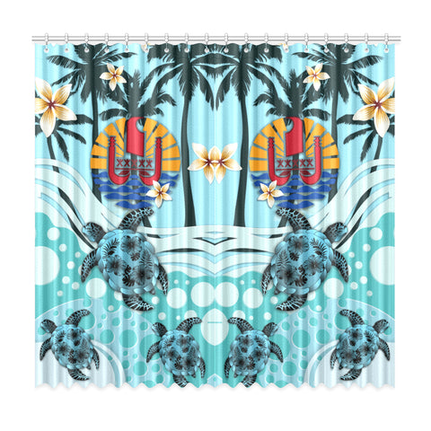 Image of Tahiti Window Curtain - Blue Turtle Hibiscus A24