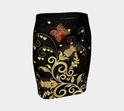 Scottish Golden Thistle Fitted Skirt A7 |Women's Clothing| 1sttheworld