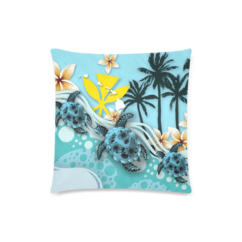Image of Hawaii Pillow Cases - Blue Turtle Hibiscus A24