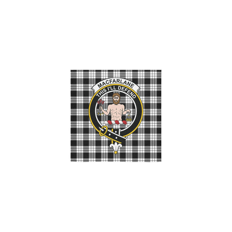 MacFarlane Black & White Tartan Towel Clan Badge | 1sttheworld.com