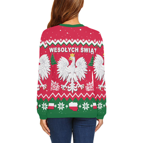Poland Christmas Sweatshirt Eagle for women back - Love The World