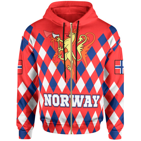 Norway Zip-up Hoodie - Norway Lion with Flag Color