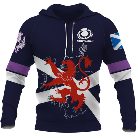 Scotland Lion Rampant with Thistle Hoodie - Rugby Style front