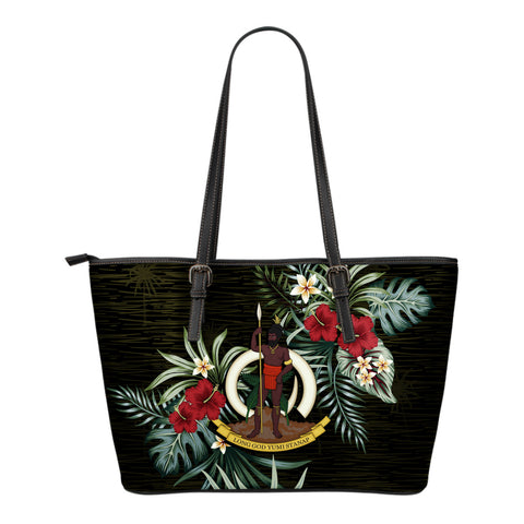 Image of Vanuatu Hibiscus Small Leather Tote Bag A7