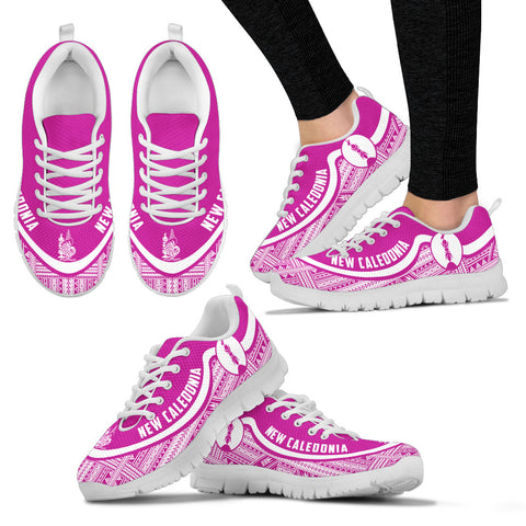 Image of New Caledonia Wave Sneakers - Polynesian Pattern White Pink Color Th0