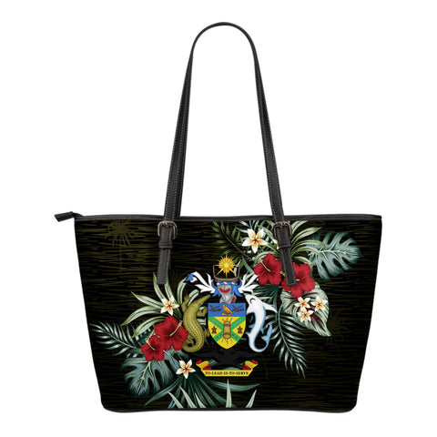 Solomon Islands Hibiscus Small Leather Tote Bag A7