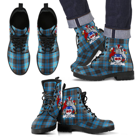 Angus Ancient Tartan Clan Badge Leather Boots Hj4 |Footwear| Love The World