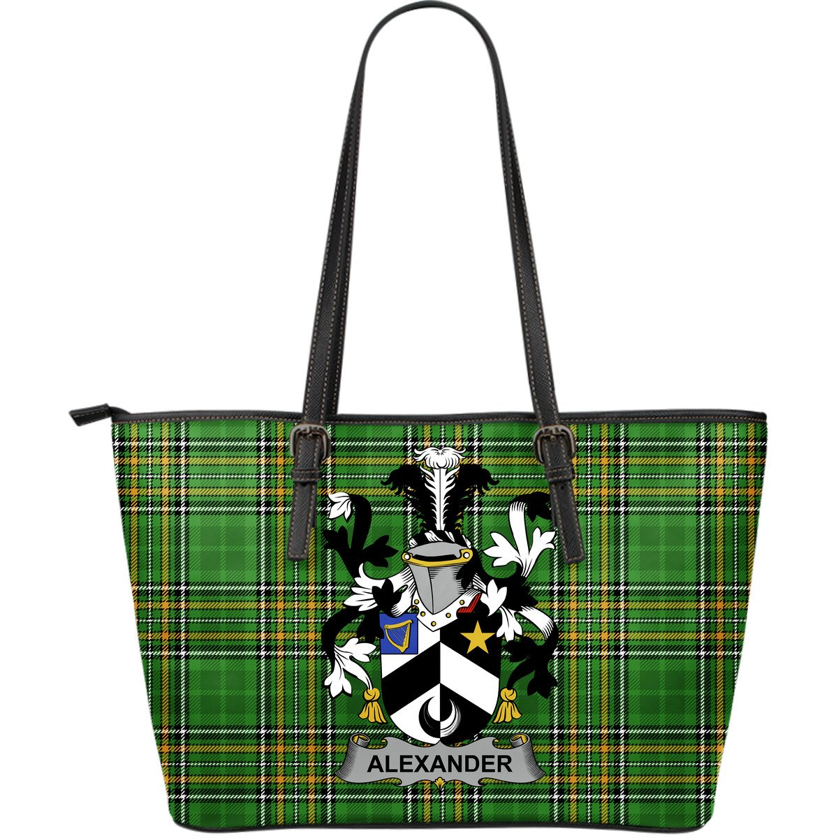 Alexander Ireland Leather Tote Irish National Tartan (Large Size) | Over 1400 Crests | High Quality Bag