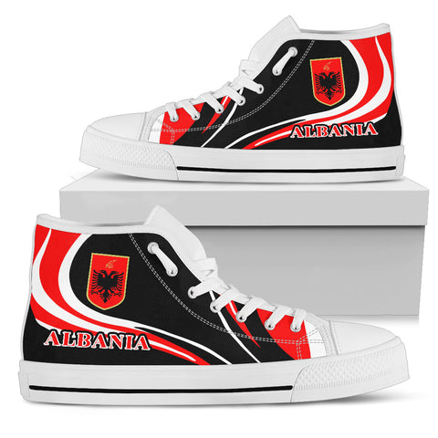Albania Flag High Top Shoe Cannon Style white