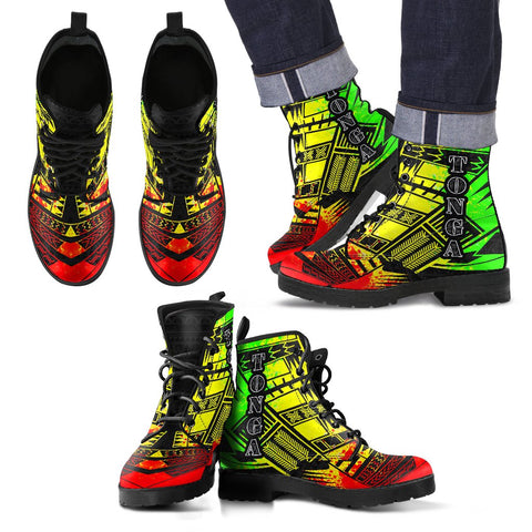 Men's Tonga Leather Boots - Polynesian Tattoo Reggae