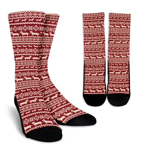 Dachshund Nordic Patterns Crew Socks - red - dachshund, dachshund gifts, dog socks, crew socks, nordic patterns, clothing, online shopping