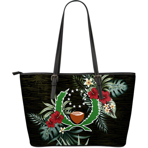 Pohnpei Hibiscus Large Leather Tote Bag A7