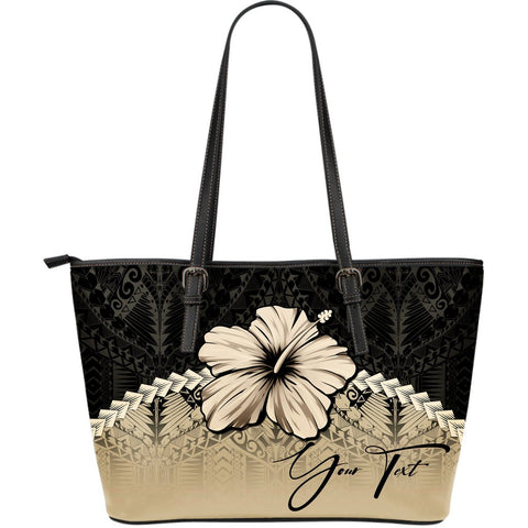 (Custom) Polynesian Leather Tote Bag Hibiscus Personal Signature A02