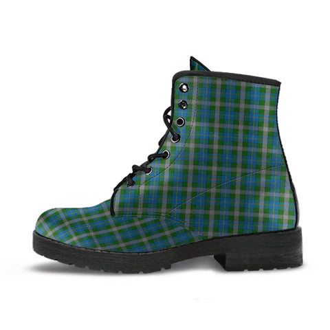 Scotland Tartan Leather Boots Green A10