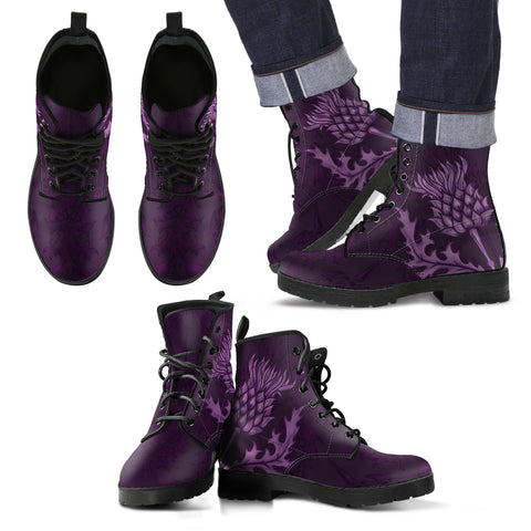 Image of Scotland Leather Boots - Scottish Thistle Purple Edition H4 |Footwear| Love The World