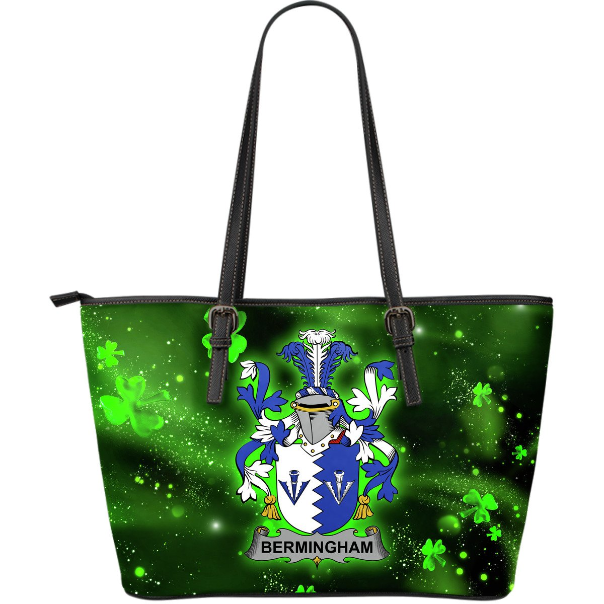 Bermingham Ireland Leather Tote Irish Shamrock (Large Size) | Over 1400 Crests | Highest Quality