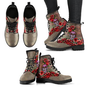 mexico, mexico leather boot, leather boot, catrina leather boot, catrina rose flowers leather boot