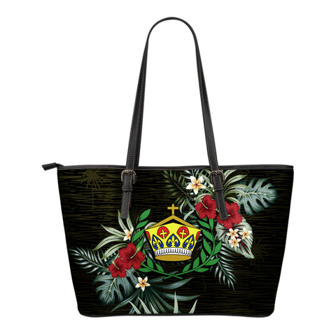 Image of Tonga Hibiscus Small Leather Tote Bag A7