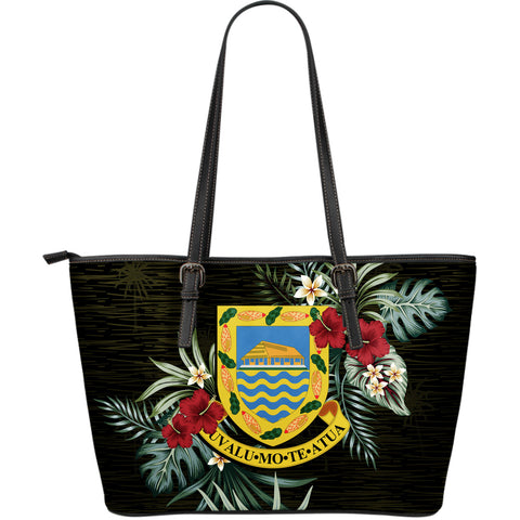 Tuvalu Hibiscus Large Leather Tote Bag A7