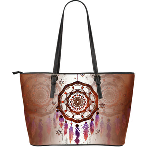 Dreamcatcher Galaxy In Native American Large Leather Tote Bag NN8