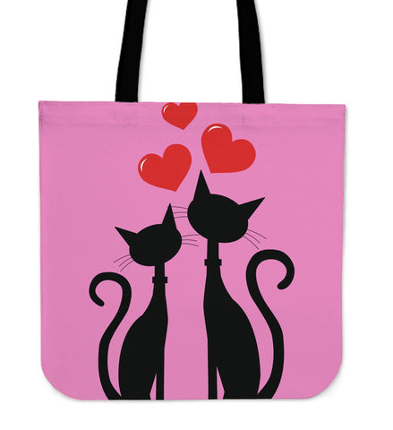Pink Cats Love Tote Handbag