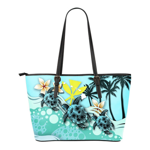 Hawaii Small Leather Tote - Turtle Hibiscus | Love The World
