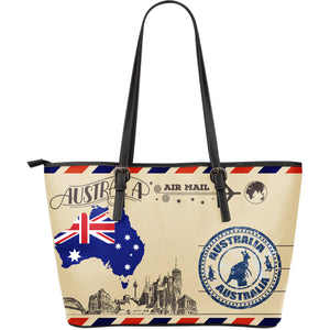"Manufactured with premium water-resistant PU leather. Features comfortable and sturdy carrying straps with high-quality stitching for long-lasting durability. Finished with multiple interior compartments to keep your items organized. Let this Australia Vintage Postcard Large Leather Tote Bag draw your style and show your love to Australia. Click ""ADD TO CART"" to get yours. Free shipping worldwide."