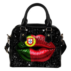 PORTUGAL LIPS FLAG SHOULDER HANDBAG A2