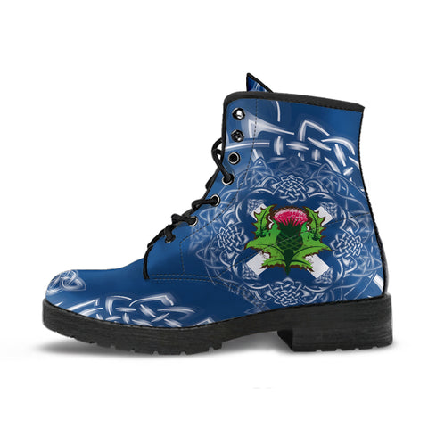 Scotland Leather Boots - Saltire Thistle | Footwear | 1sttheworld