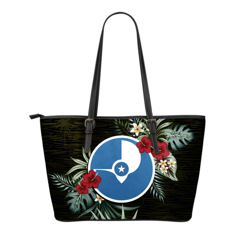 Yap Hibiscus Small Leather Tote Bag A7