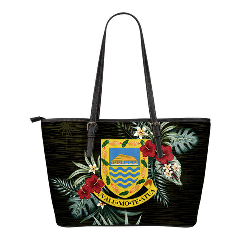 Tuvalu Hibiscus Small Leather Tote Bag A7
