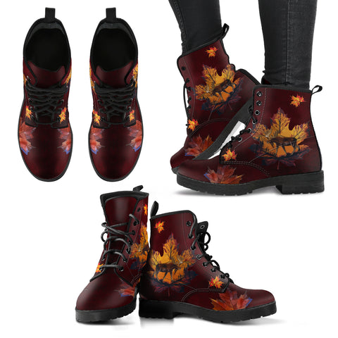 The moose, elk, the deer family. The maple leaf is the characteristic leaf of the maple tree, and is the most widely recognized national symbol of Canada. Canada Moose and Maple Leaf Leather Boots.