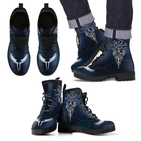 Love The World | Viking Leather Boots - The Helm of Awe In Night | Special Custom Design