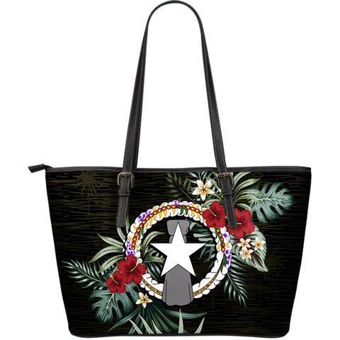 Northern Mariana Islands Hibiscus Large Leather Tote Bag A7