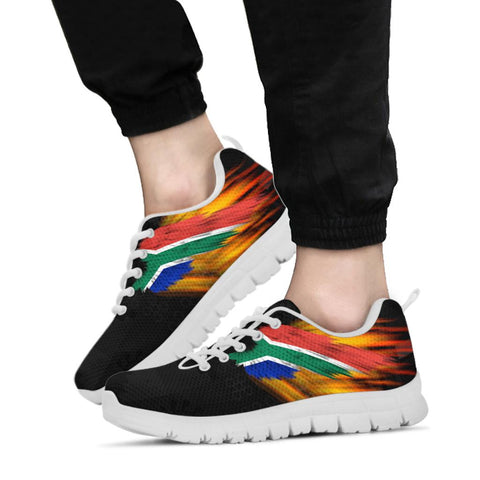 South Africa Sneakers - Ankara Pattern - Fire Wings and Flag A188