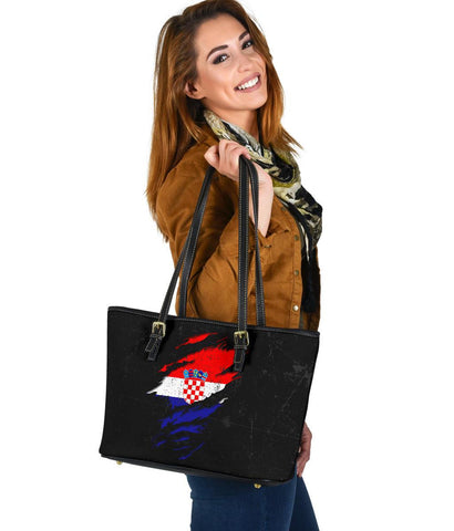 Croatia in Me Leather Tote - Special Grunge Style A7
