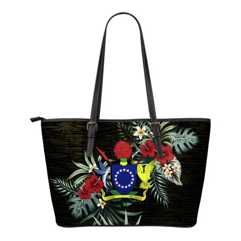Cook Islands 1 Hibiscus Small Leather Tote Bag A7
