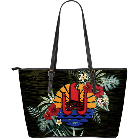 Tahiti Hibiscus Large Leather Tote Bag A7
