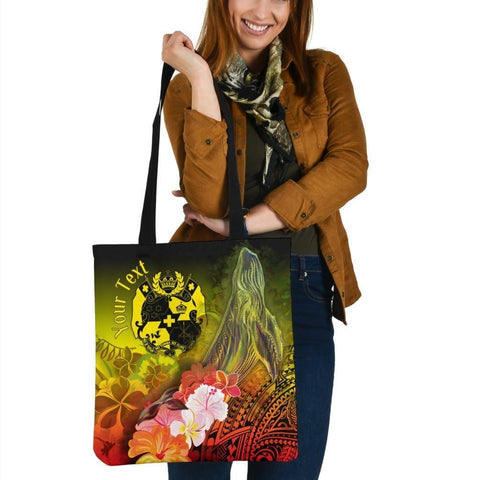 Tonga Custom Personalised Tote Bags - Humpback Whale with Tropical Flowers (Yellow)