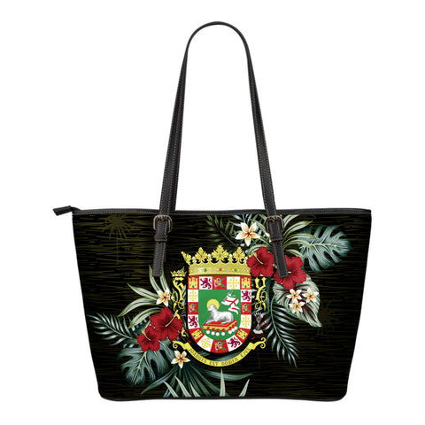 Puerto Rico Hibiscus Small Leather Tote Bag A7