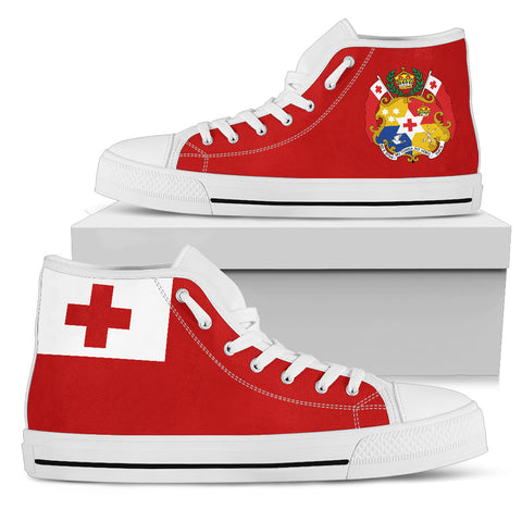 Image of Tonga Flag And Coat Of Arms High Top Canvas Shoes K5