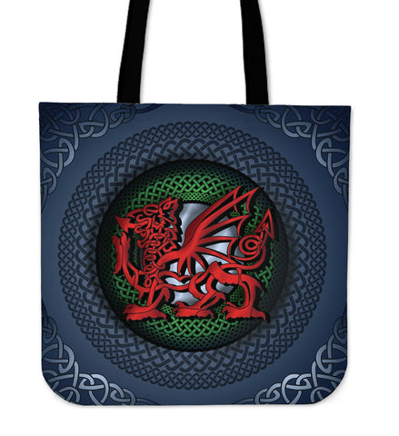 Welsh Tote Bag - Blue Celtic Dragon A18
