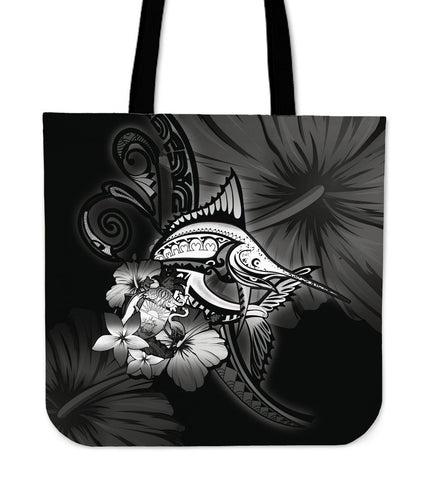 The Bahamas Tote Bag - Gray Marlin and Hibiscus A18